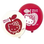 Hello Kitty baloni v rdeci in beli barvi s potoskom