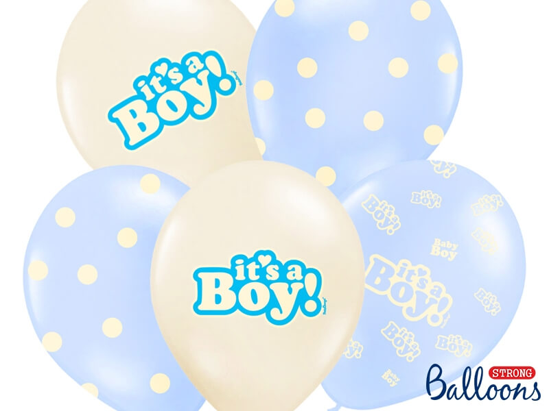 Baloni It's a Boy za novorojencka z natisom Its a boy 30cm lateks baloni v modri in beli barvi