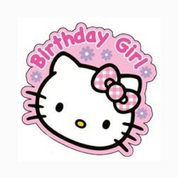 Hello Kitty priponka z napisom birthday girl