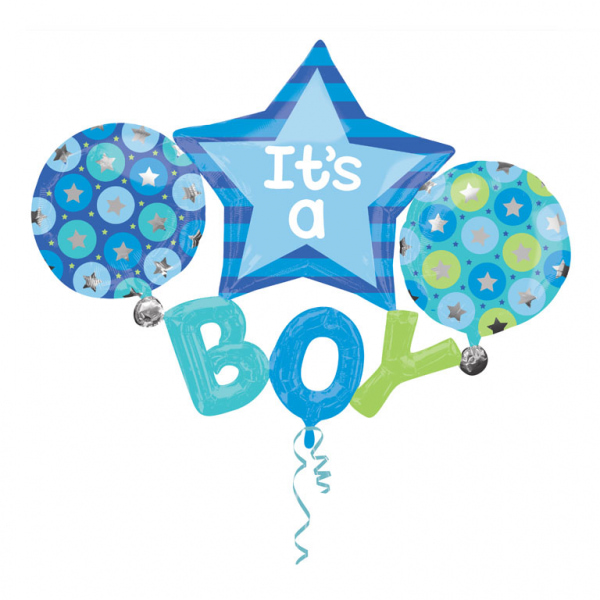 It's a Boy buket - folija balon buket z vec baloni