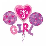 Folija balon It's a girl buket z vec baloni v pink barvi