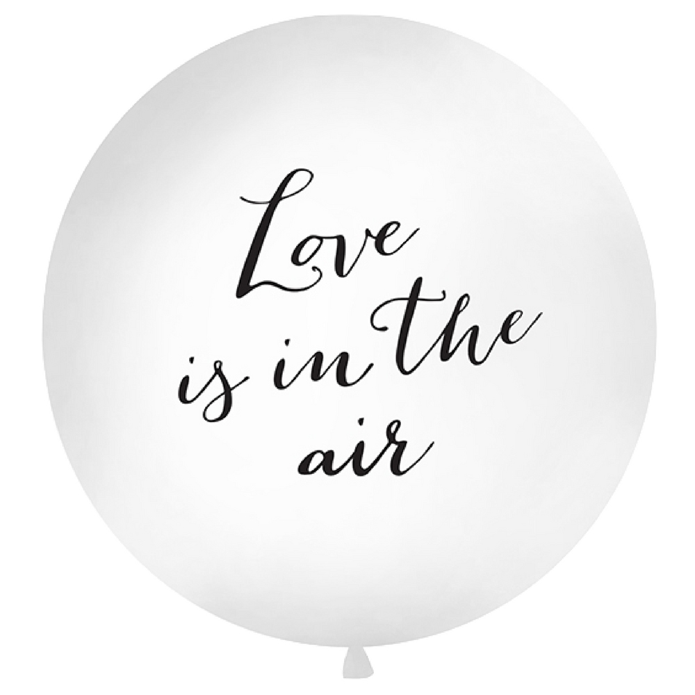 Velik balon LOVE is in the air v beli barvi