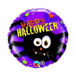 Balon Spider party z napisom happy halloween