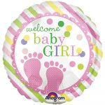 Folija balon Welcome baby girl z pink odtisi nogic