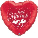 Just Married Rdec folija balon oblike srca