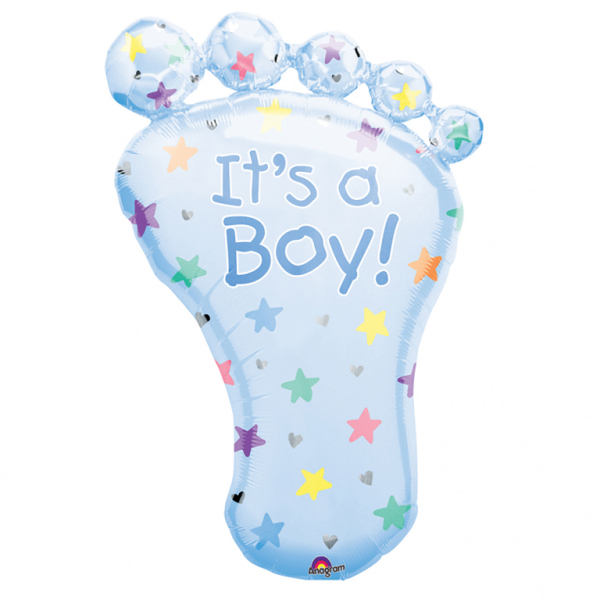 It's a Boy Foot - folija balon oblike stopala z napisom Its a boy